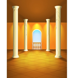 Hall with columns and balcony vector