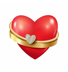 Heart with ring and diamonds vector