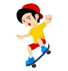 Kid playing skateboard vector
