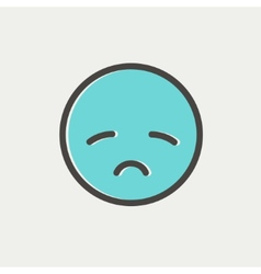 Sad face thin line icon vector