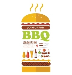 Bbq party invitation designed as a hamburger vector