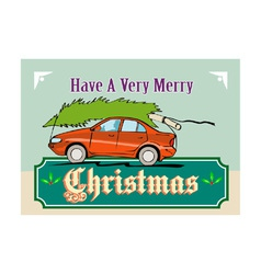 Merry christmas tree car automobile vector