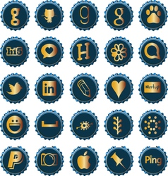 Bottle cap social media icons set 3 vector