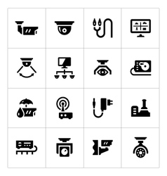 Set icons of video surveillance vector