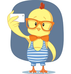 Hipster easter chick takes selfie with smartphone vector