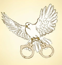 Sketch dove with handcuffs in vintage style vector