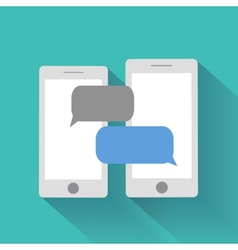 Smartphones with blank speech bubbles vector
