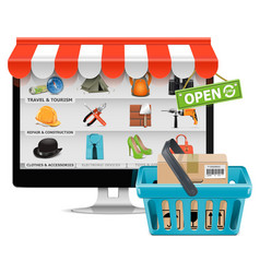 Computer shop with basket vector