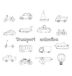 Transport doodle set vector