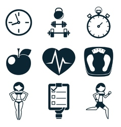 Sport fitness and health isolated icons set vector