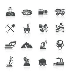 Mining icons black vector