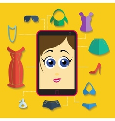 Phone girl shopping flat vector