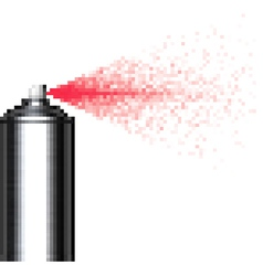 Pixel spray can on white vector