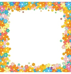 Colorful floral frame flower garland on white vector