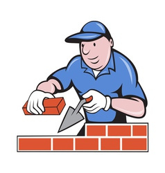 Bricklayer mason at work vector