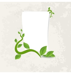 Banner with green leaves vector