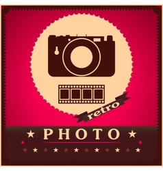 Photography camera and film retro poster vector