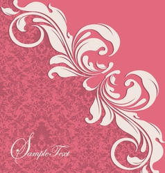 Pink floral card vector