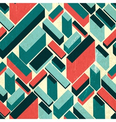 Seamless retro buildings pattern vector