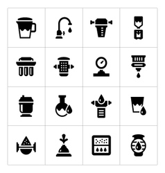 Set icons of water filters vector