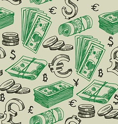 Money falling seamless pattern vector