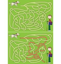 Guide dog maze vector