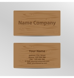 Business card with wood texture vector