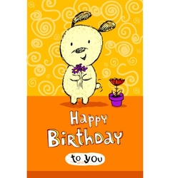 Birthday greeting card with cute puppy vector