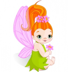 Fairy with flower vector
