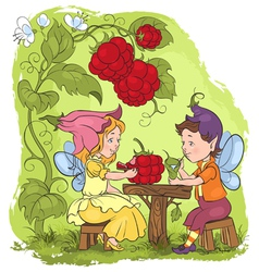 Two cute elves lunch in the garden cafe vector