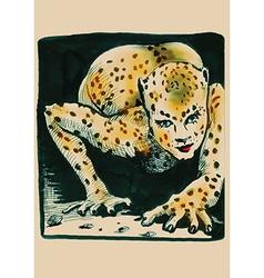 Underground comix leopard lady vector