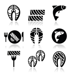 Salmon fish and meal - food icons set vector