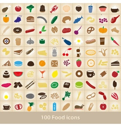 100 various food and drink color icons set eps10 vector