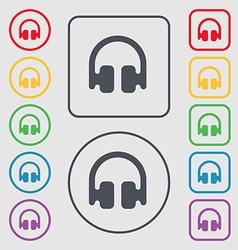 Headphones earphones icon sign symbol on the round vector