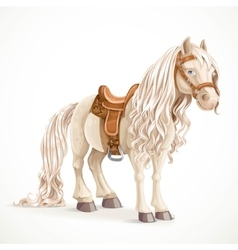Cute saddled little pony horse isolated on a white vector