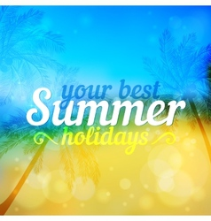 Sunny summer backdrop with palms vector