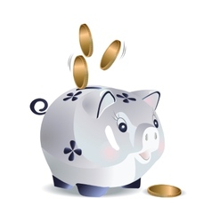 Blue cash pig vector