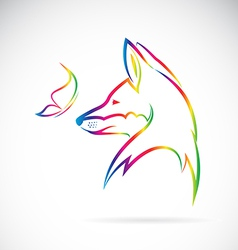 Fox and butterfly vector