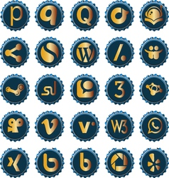 Bottle cap social media icons set 5 vector