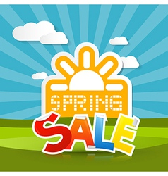 Spring sale background with sun meadow hills sky vector