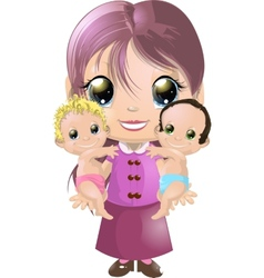 Girl and two babies vector