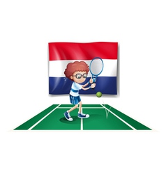 The flag of netherlands at the back of a tennis vector