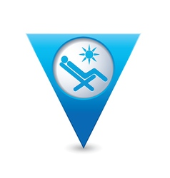 Beach chair icon map pointer blue vector