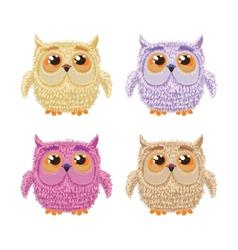Set of cartoon owls for wisdom or education vector