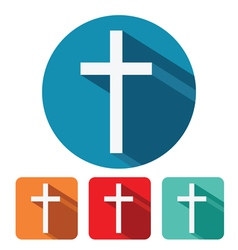 Christian cross flat icon design vector