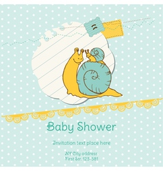 Baby shower card with snail vector