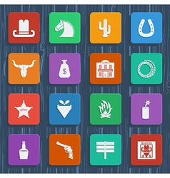 Cowboy icons wild west pictograms vector