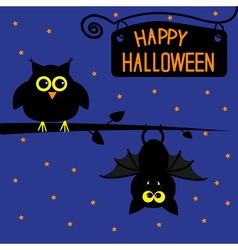 Happy halloween owl and bat card vector