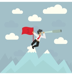 Businessman with red flag on top of the mountain vector