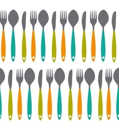 Fork knife and spoon seamless pattern vector
